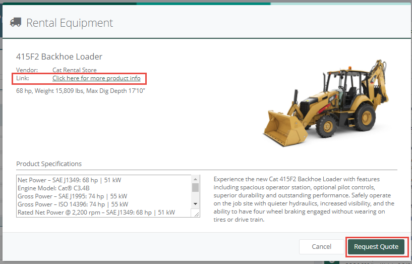 NEW FEATURE! Request quotes on rental equipment while