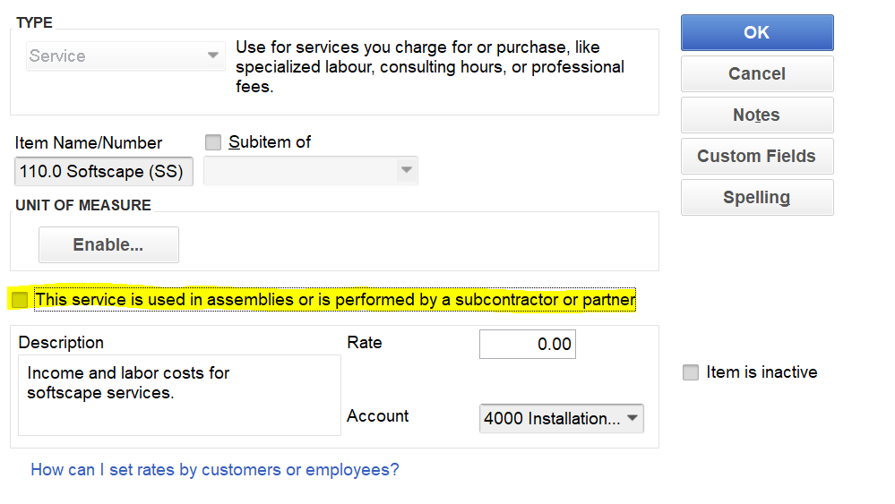 Creating Two Sided Service Items in Quickbooks Desktop and