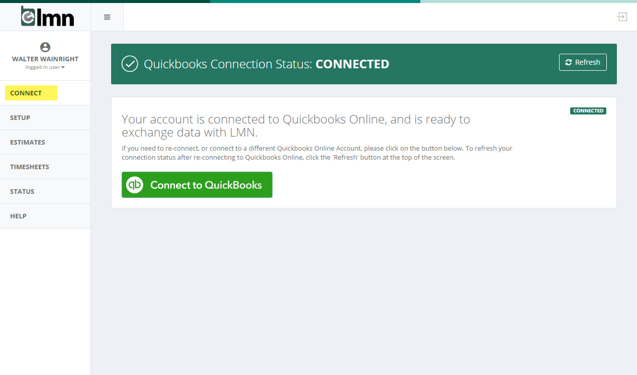 Connect your LMN Account to your QB Online Account – LMN