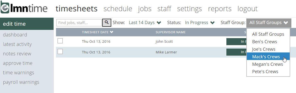 improvement filter timesheet reviews approvals and crew locations